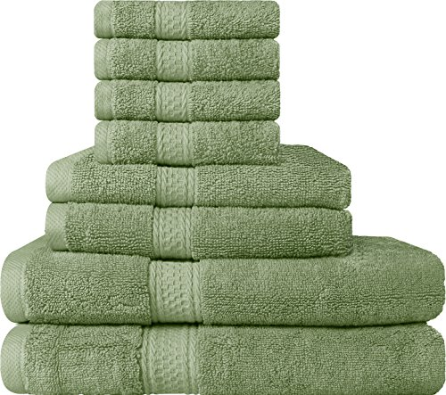 premium 8 piece towel set sage green 2 bath towels 2 hand import it all. Black Bedroom Furniture Sets. Home Design Ideas