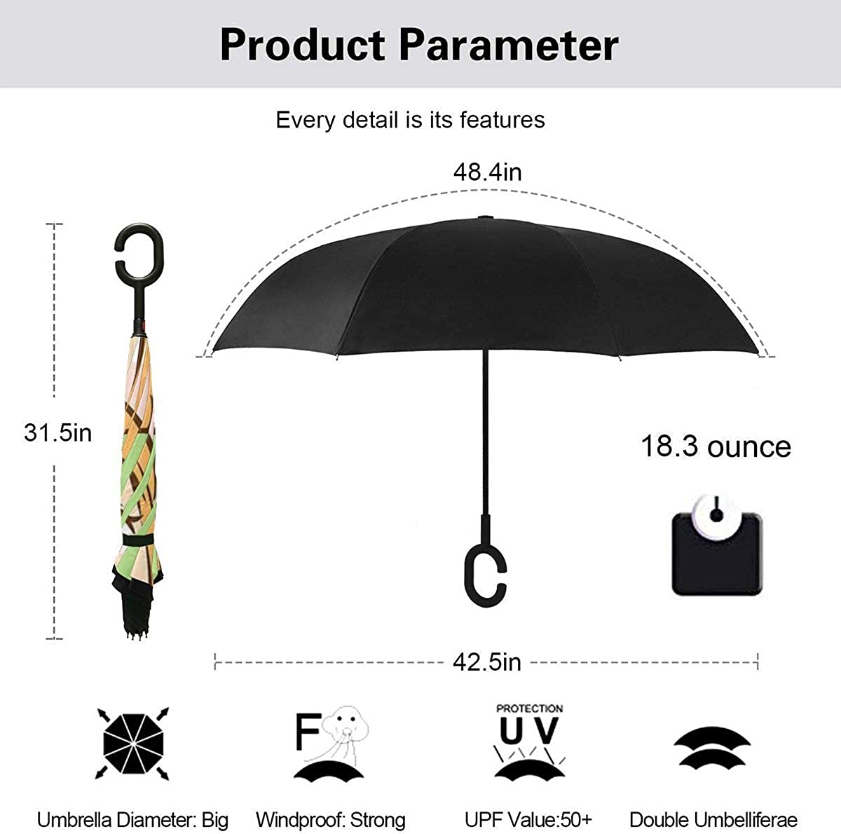 Reverse Umbrella Double Layer Inverted Umbrellas For Car Rain Outdoor With C-Shaped Handle Beautiful Girl Showing Thumbs Up Personalized