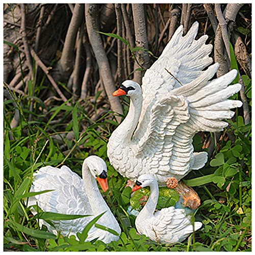 Ms Swan Costume (Meiyiu Furnishing Micro Landscape Creative DIY Resin Swan Furnishing 3Pcs European Home Decoration)