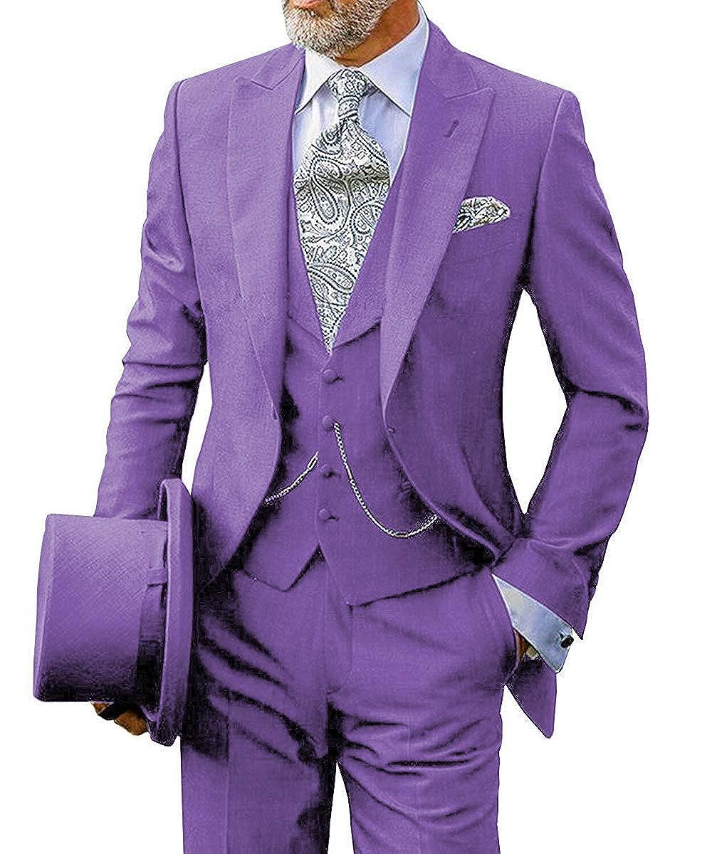 Pretygirl Mens 3-Piece Business Suits Groom Tuxedos Slim Mens Wedding Suits Formal Business Blazer