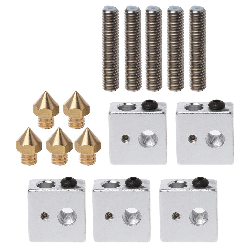 5 blocs chauffants Hotend pour Mk8 Makerbot A8 5 tubes en t/éflon de 1,75 mm Yyooo Lot de 5 buses dextrusion 3D 0,4 mm