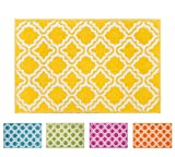 Kitchen Rugs Bright Colors Modern Rug Calipso Yellow 2'X7'3'' Runner Lattice Trellis Accent Area Rug Entry Way Bright Kids Room Kitchn Bedroom Carpet Bathroom Soft Durable Area Rug
