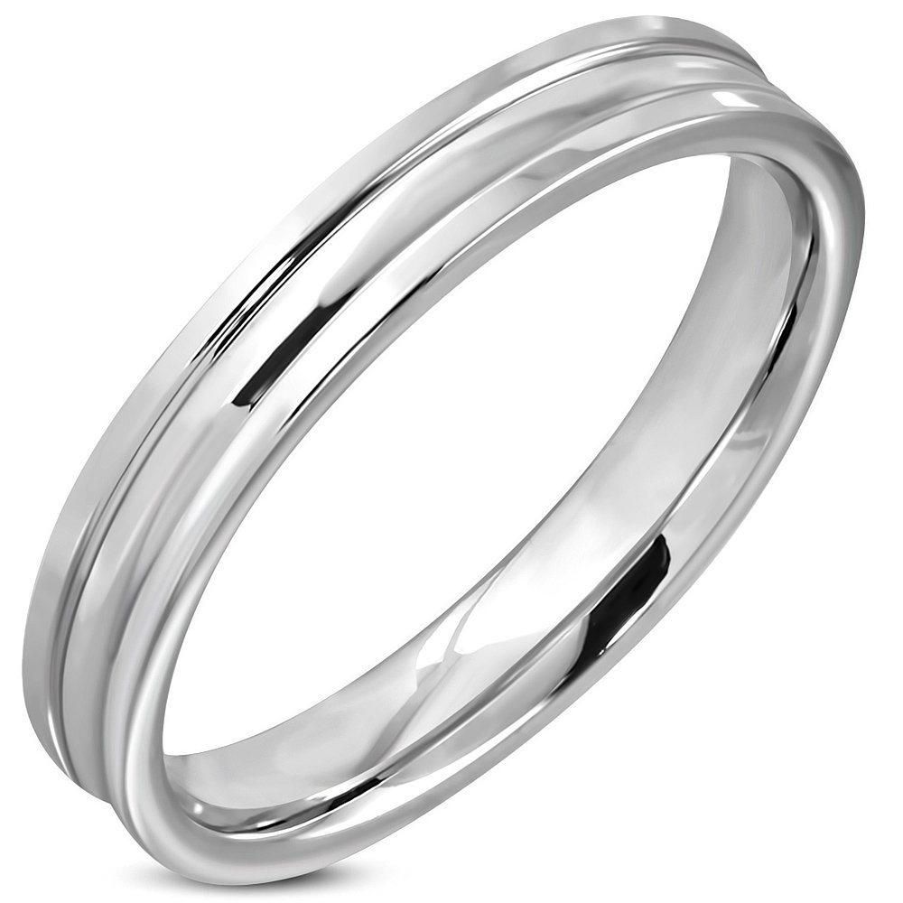 Stainless Steel Grooved Comfort Fit Flat Band Ring