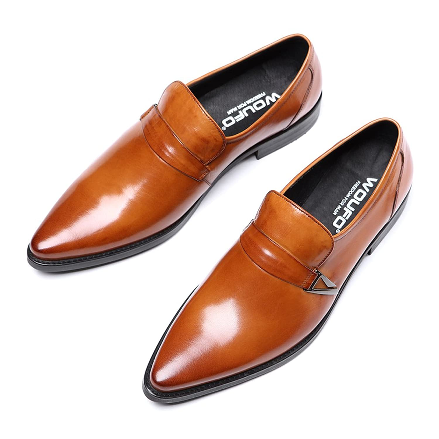 New Loafer Shoes/Innovative Penny ShoesGenuine LeatherPlain Pointed ToeRubber Sole; Fashion and Formal;Red US8.0=EU41
