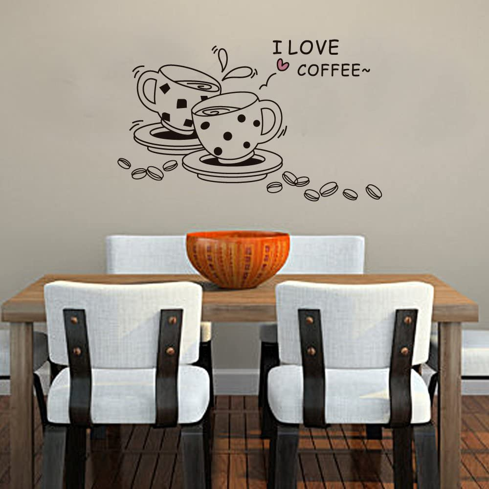 Cukudy Home Decoration Vinyl Wall Sticker Decals Mural Art I Love Coffee Black Cups
