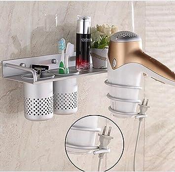 Amazon Com Wall Mounted Aluminum Bathroom Shelf Hair Dryer Rack