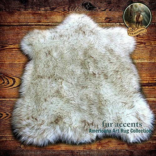 (Fur Accents Faux Fur Bear Skin Accent Rug White with Brown Tips 3'x5')