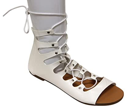Forever Vibrant-12 Women's Open Toe Bondage Lace up Zip Closure Gilly Tie Wrap Ankle Sandals White 6.5