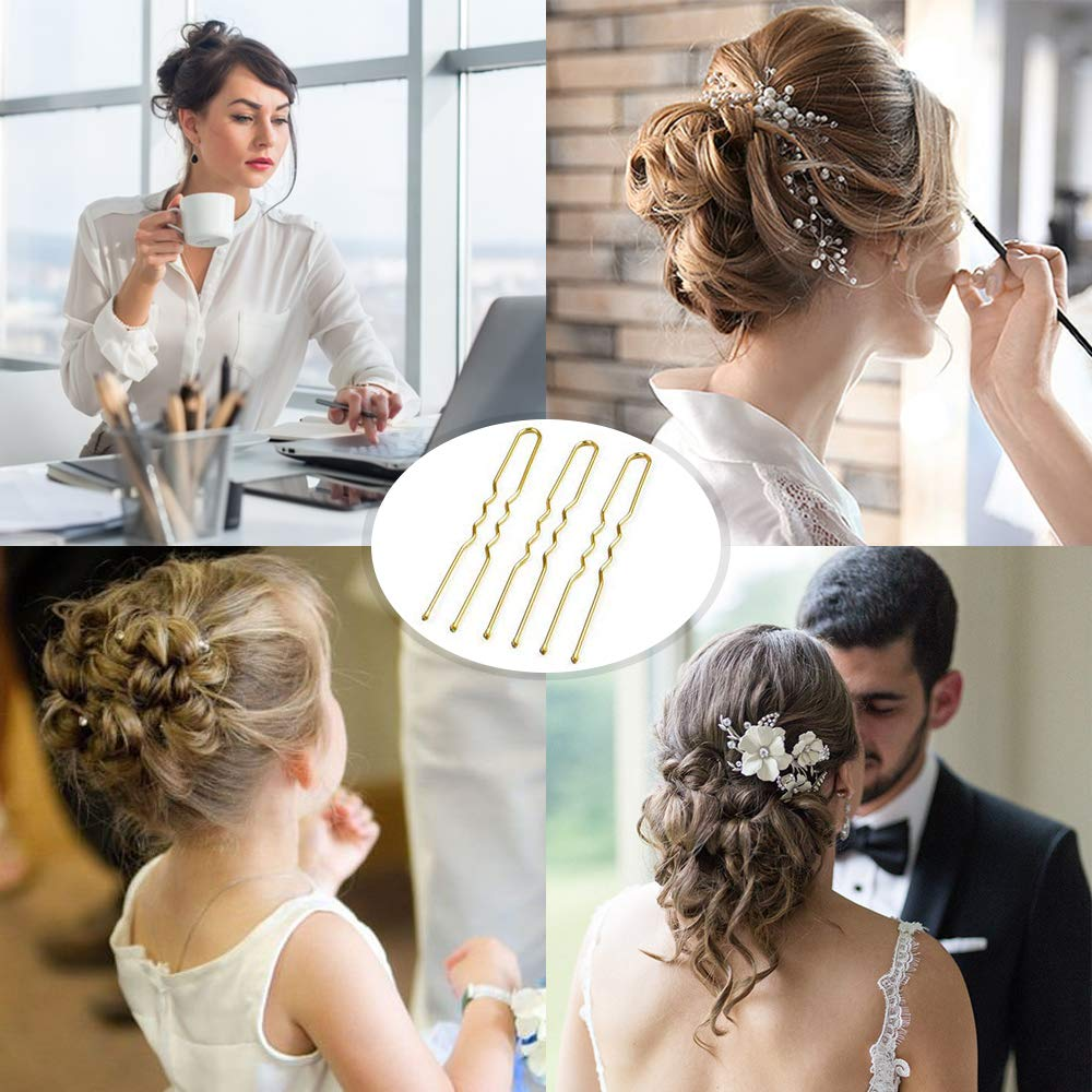 U Shaped Hair Pins, MORGLES Bun Hair Pins for Blonde with Box, 80-Count (Golden 2.4 inch) : Beauty