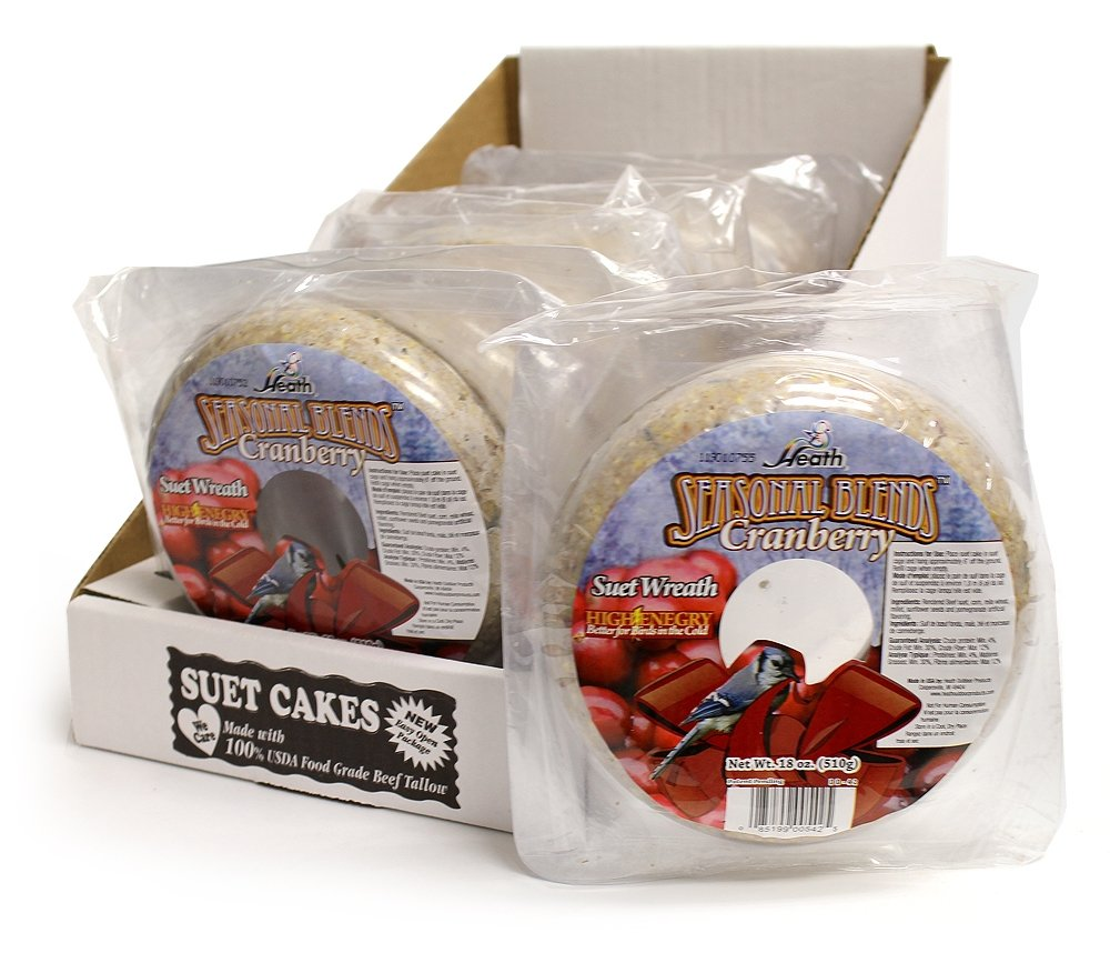 Heath Outdoor Products DD-42 18-Ounce Cranberry Suet Wreath Cake, Case Of 6