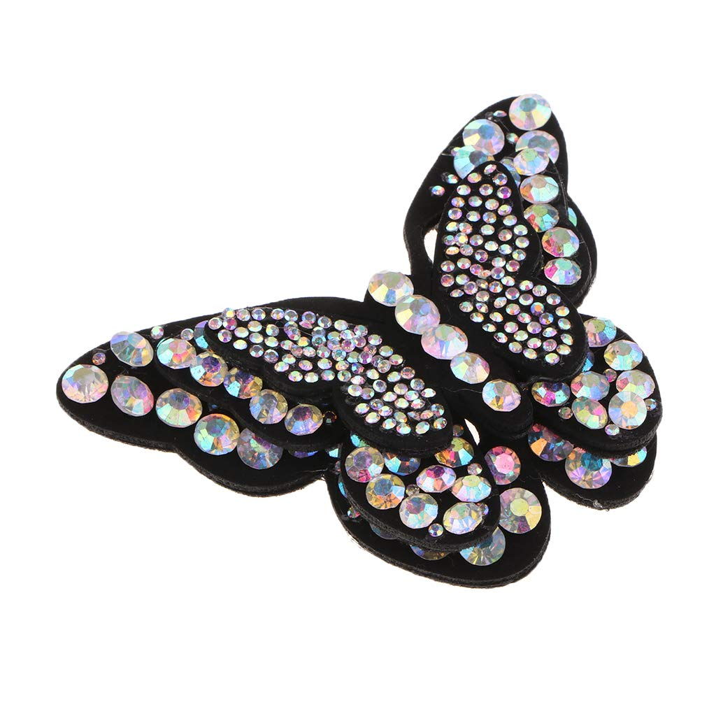 non-brand Baoblaze Glitzer Schmetterling Aufnäher Patches Bügelbild Applikation Aufnäher Strass für Frauen Kleider, Schuhe, Schmuck zum aufnähen