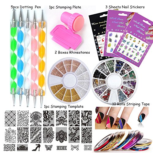 LoveOurHome Nail Art Tools Equipment Nail Stamping Templates Plate Rhinestones Decorations Dotting Pen Sticker Decal Manicure Kits (Style C)