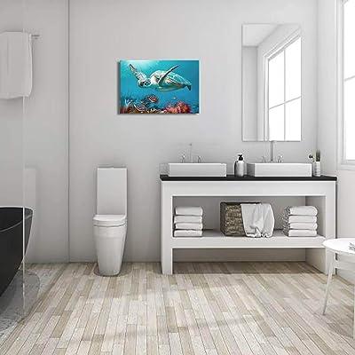 Buy Bathroom Decor Beach Decor Sea Turtle Bathroom Art Beach Bathroom Decor Turtle Decor Hawaiian Decor Sea Turtle Decor Coastal Wall Decor Ocean Wall Art Blue Ocean Canvas Frame Print Ready To