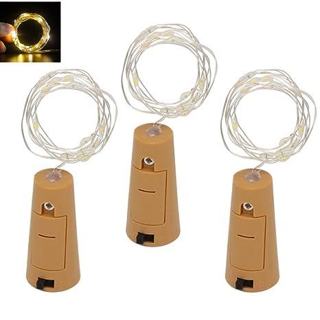 3 pieza LED Botella Luz ánimo luces, 2 M 20 LED blanco cálido cadena de