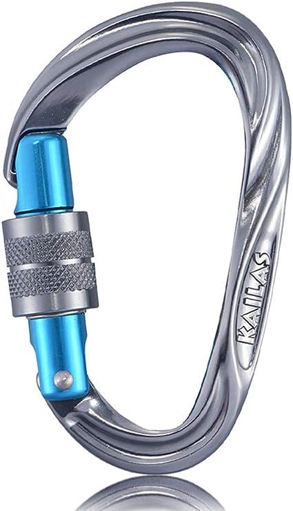 25KN Carabiner Clip Hook Heavy Duty Aluminum D-Ring Screw Lock Rock Climbing