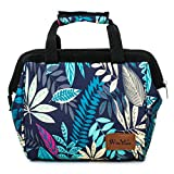 Folding Insulated Lunch Tote Bag for Women Reusable Food Container for School and Work by Winmax (Leaves)