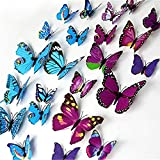 Happy Hours - 24 Pcs 3D Colorful Double Wings Butterfly Wall Stickers / Unique DIY Art Decor Crafts for Childrens Room, Playroom, Bedroom and Home Decoration with 12 Pcs Sponge Gum(Blue&Fuchsia)