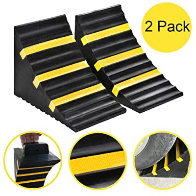 """B BAIJIAWEI 2 Pack Heavy Duty Large Solid Rubber Wheel Chock with Handle for Travel Trailer, Truck, Commercial Vehicle and RV, 10"""" x 6"""" x 7.3"""": Automotive"""