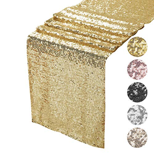 "BSFTPA Sequin Table Runner for Party Event Decorations (Gold, 12""x72"")"