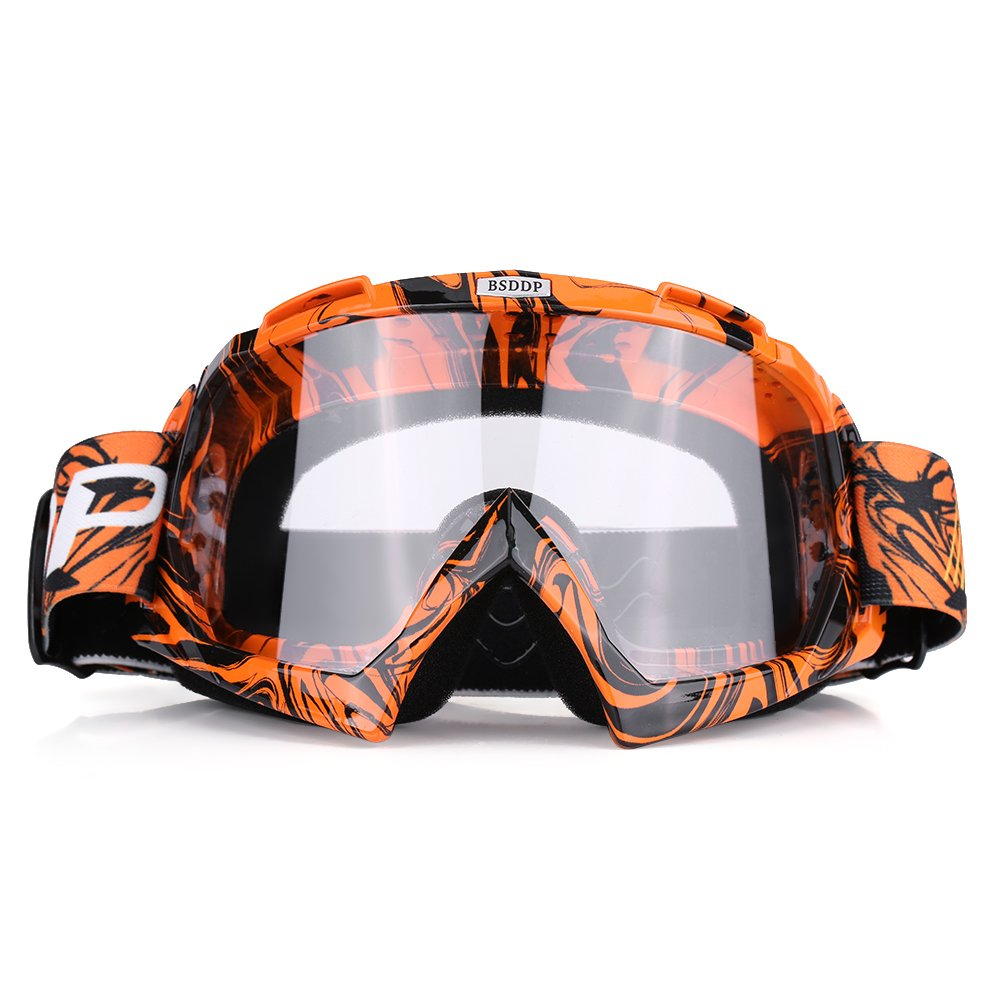 Green frame + colorful lens Qiilu Motorcycle Motocross Off Road Dirt Bike Racing Goggles Glasses Eyes Protection
