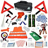 INEX Life Car Emergency Roadside Assistance Kit 112 Pieces - First Aid Kit, Premium Jumper Cables, Reflective Safety Triangle, Tow Strap, Tools, Warning Vest (Black)