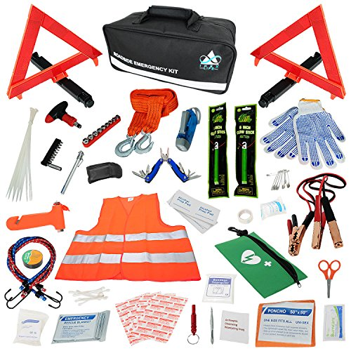 (Car Emergency Roadside Assistance Kit 112 Pieces - First Aid Kit, Premium Jumper Cables, Reflective Safety Triangle, Tow Strap, Tools, Warning Vest | Ultimate All-In-One Survival Solution Auto, Truck)