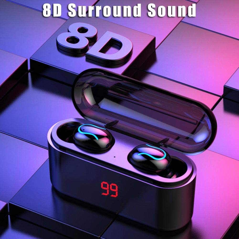 Bluetooth 5.0 Wireless Headset With Charging Storage Case 8D Surround Sound Binaural Ultra-small Wireless Sports In Ear Running Earbuds Stereo Earphones Reduction IC HD Call Game HIFI High-frequency