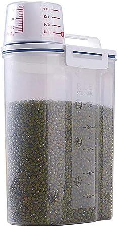 Comtervi - Caja de almacenaje de plástico para Comida, Cereales, Cereales, harina, arroz, antiplagas y Antihumedad con Vaso medidor: Amazon.es: Hogar