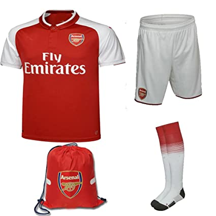 7f81f6f56dd Arsenal 2017 18 Kid Youth REPLICA Jersey Kit (Shirt, Short, Socks, Bag