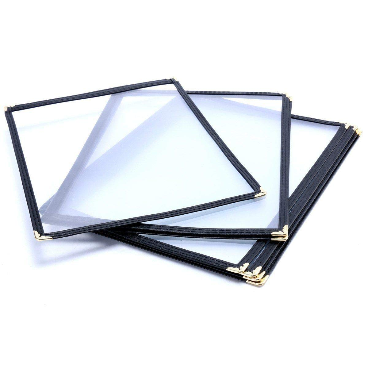 """(10 Pack) Yaekoo Triple Fold Menu Cover for 8.5""""x11"""", Book Style Restaurant Recipe Menu Covers (3 Page 6 View)"""