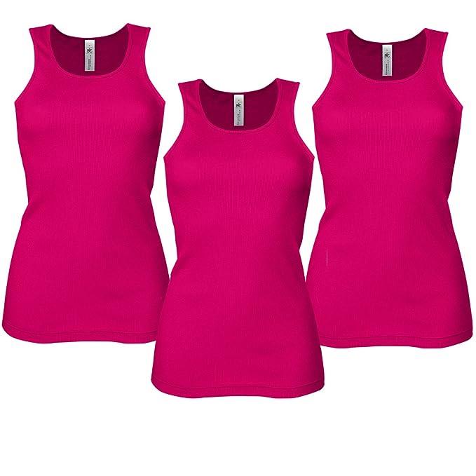 Camisetas deportivas para mujer, sin mangas y elásticas, 3 unidades Rosa rosa