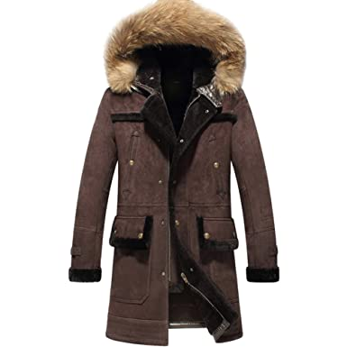 77e149f7afa Natural Lamb Fur Shearling Coat For Men True Leather Hooded Thick Outerwear  Long Parka (XS