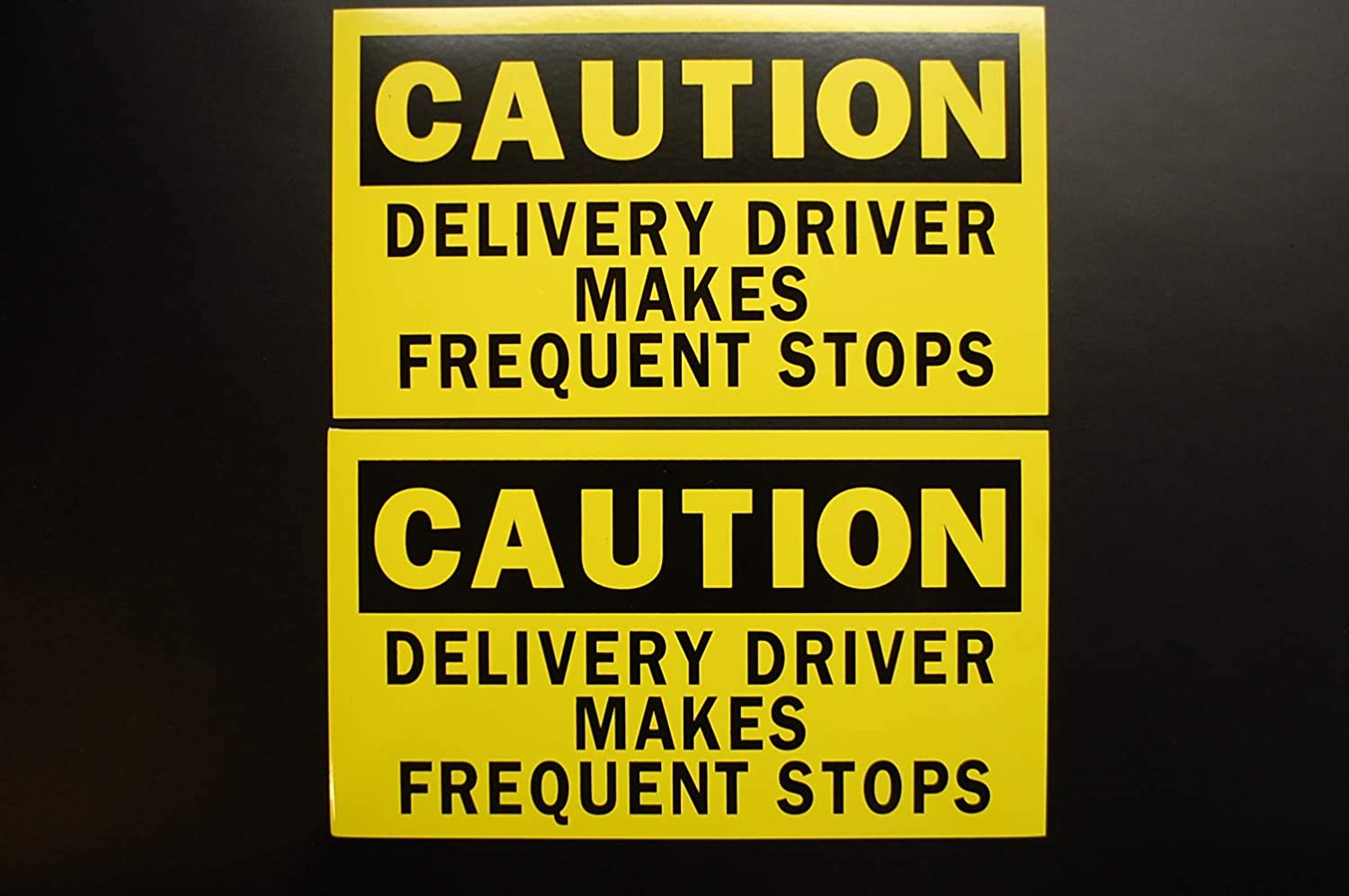 7 X 4 Waterproof 2 Pack Five Star Graphics Caution Delivery Driver Makes Frequent Stops Sticker Vinyl Decal 2XPS51