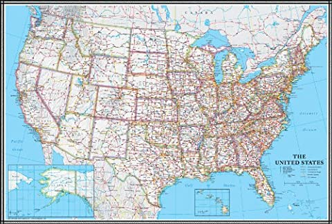 24x36 United States, USA US Classic Wall Map Poster Mural Laminated - Detail Map