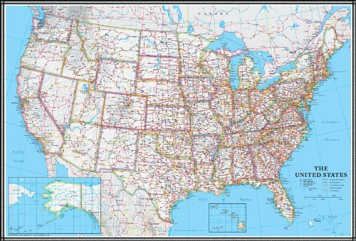 24x36 United States, USA US Classic Wall Map Poster Mural Laminated (States United Road Large Map)