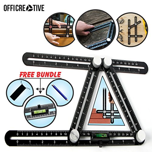 Multi Angle Measuring Ruler by OffiCreative | Multi Function Black Colored Aluminum Layout Template Tool | with Water Balance as Gift.