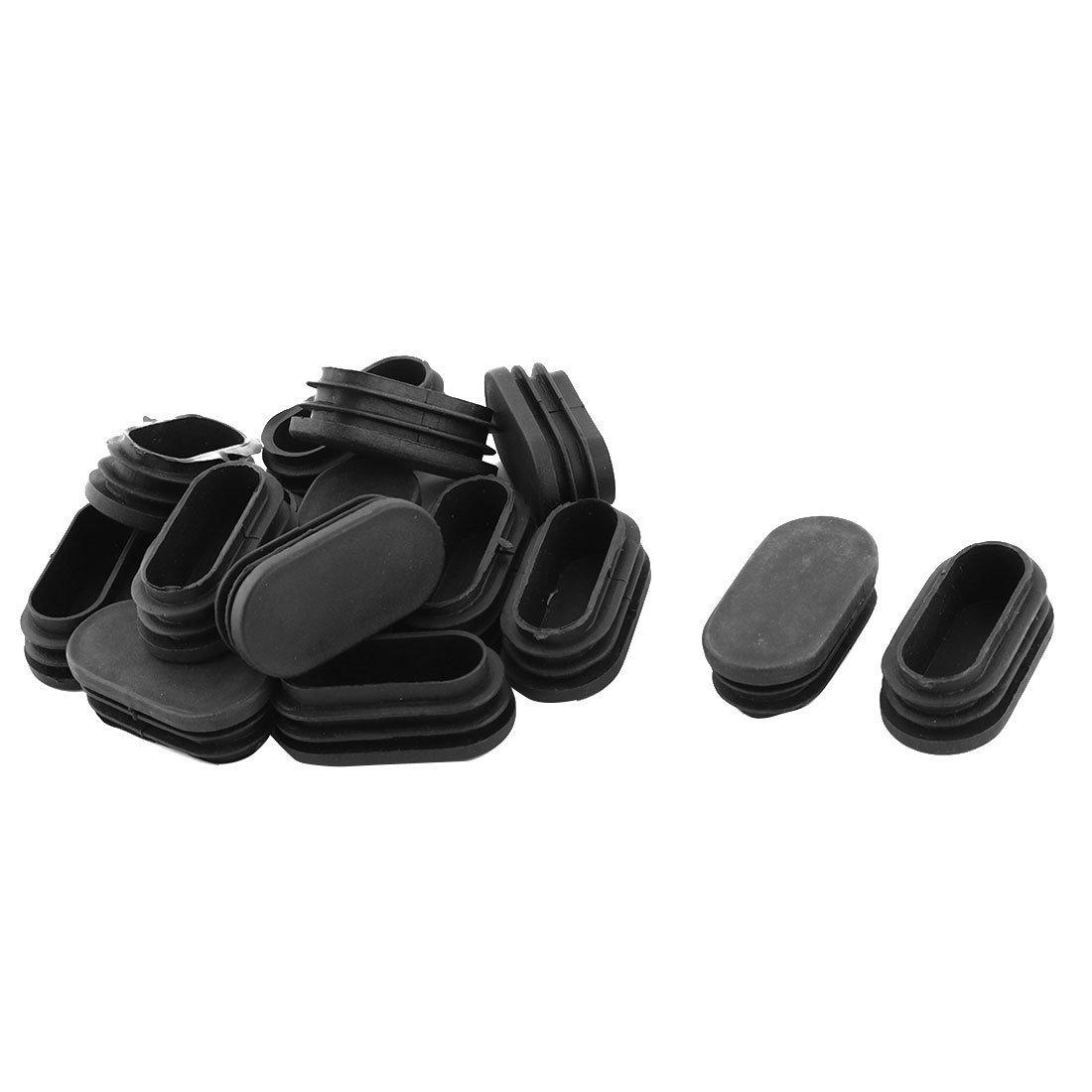 sourcingmap® Plastica pavimento ovale Protettore Poltrona scrivania piede inserto tubo nero 48mm x 24mm 15pcs a17042900ux0795