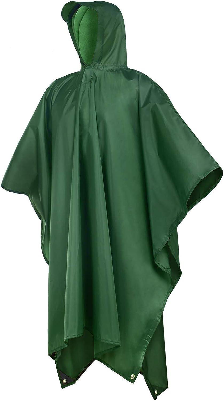 Rain Poncho,Rain Ponchos for Adults Men Women Hooded,Lightweight Reusable: Clothing