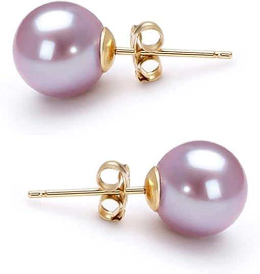 Pearl Drop Earrings Pastel Purple Cultured Pearls Sterling Silver Stud