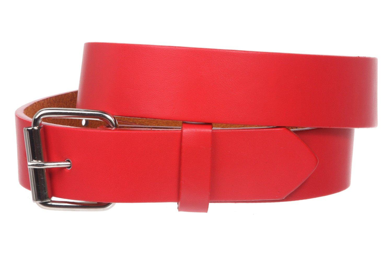 Kids 1'' Snap On Plain Leather Belt, Red   XL - 32''