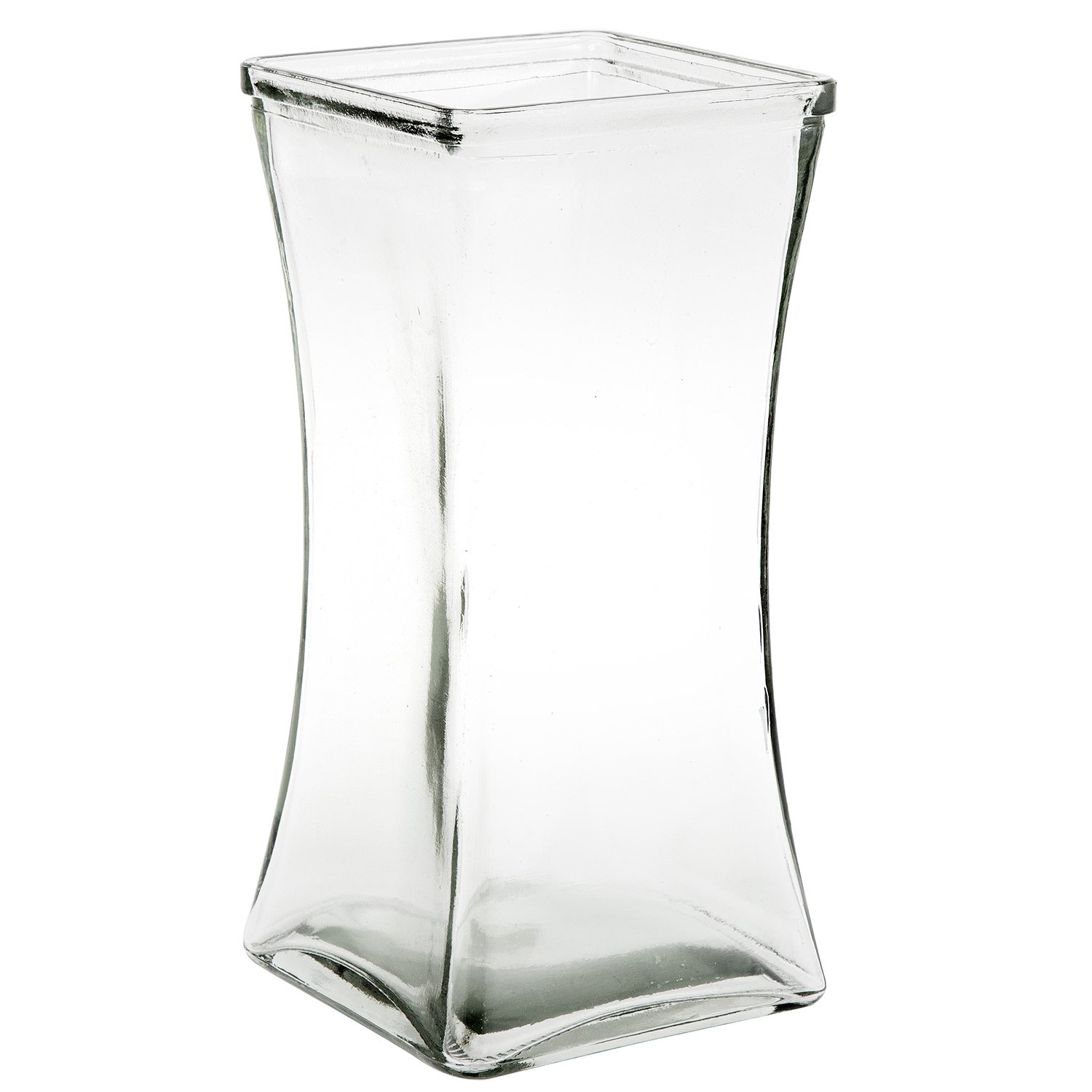 Flower Rose Bunch Glass Gathering Vase Decorative Centerpiece For Home or Wedding (Fits Dozen Roses) - Square - 8.75'' Tall, 4.5'' Opening, Clear