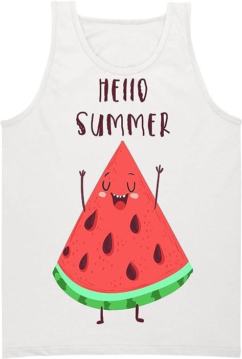 65fa9059a7833 Amazon.com  Hello Summer! Happy Slice Of Watermelon Men s Tank Top Shirt  Small  Clothing