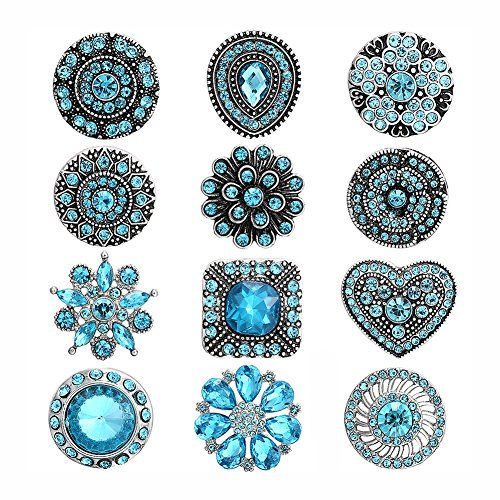 Soleebee 12pcs Alloy Rhinestones Same Color Snap Buttons Jewelry Charms (Sky Blue 2)