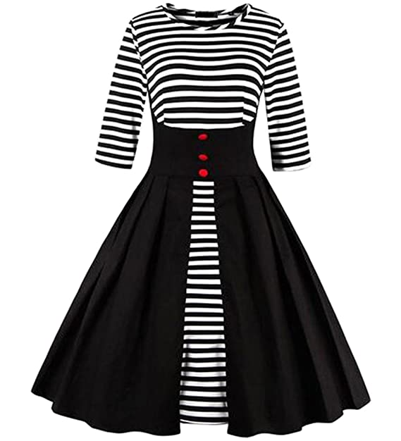 86970395c1d MERRYA Women s Vintage 1950s Style Sailor Stripes Swing Cocktail Dress (S