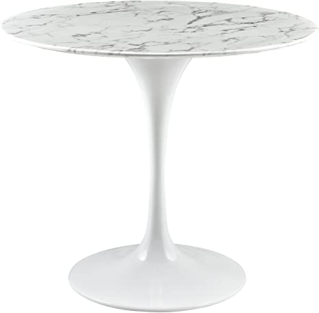 Amazon Com Modway Lippa 36 Mid Century Dining Table With Round Artificial Marble Top In White Tables