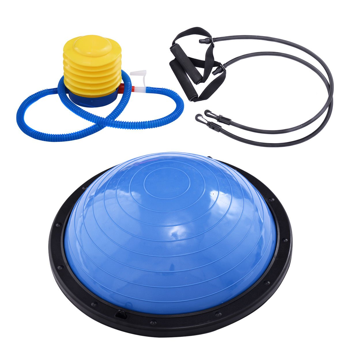 Giantex 23 Balance Trainer Ball, Bosu Ball with Resistance Bands Pump Heavy Duty Stability Exercise Fitness Trainer Ball Support 660 lbs for Office, Gym, Home, Half Yoga Exercise Ball
