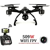 JXD 6-Axis Gyro Drone FPV RC Quadcopter with Wi-Fi HD 0.3MP Camera, High Hold CF Mode Mobile Phone Control RC Drone, Black