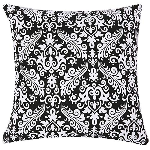 TAOSON Black and White Damask Accent Decorative Geometric Cushion Cover Pillow Cover Pillowcase Cotton Canvas Pillow Sofa Throw White Printed with Hidden Zipper Closure Only Cover 18 x 18 Inch/45x45cm