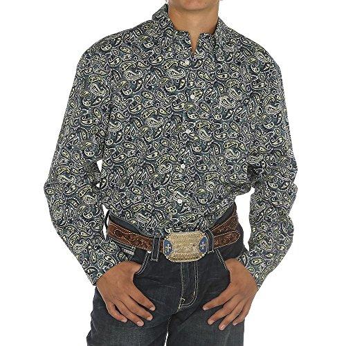 Cinch Men's Modern Fit Long Sleeve Button One Open Pocket Print Shirt, Blue Paisley, XXL (Horse Shirt Blue New)