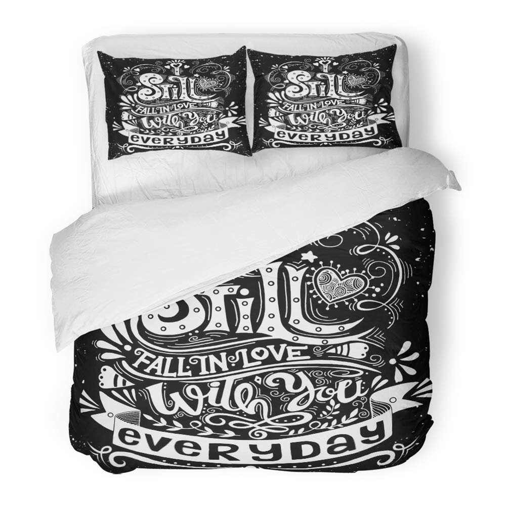 Emvency Bedding Duvet Cover Set Twin (1 Duvet Cover + 1 Pillowcase) I Still Fall in Love with You Everyday Inspirational Quote Vintage with Hand Hotel Quality Wrinkle and Stain Resistant